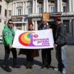 Massimo Vianello, Lilia Mulas, Alberto Villa e Valerio Barbini con il logo del Genova Pride 2009