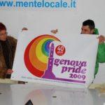 Lilia Mulas e Massimo Vianello con il logo del Genova Pride 2009